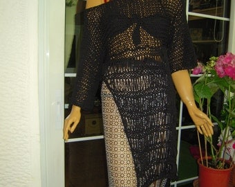 Handmade knitted asymmetrical sweater/beach cover up/eco friendly top in black tape cotton/gift for her  by golden yarn