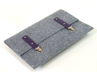 MacBook 13 Air Sleeve or Retina Case, Cover, grey synthetic felt briefcase handmade by SleeWay