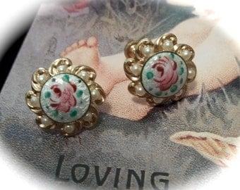 Vintage Guilloche Enamel Earrings