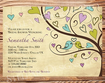 Bridal Shower Invitation,Love Birds and Hearts Bridal Shower Invitation,Teal, Green, Pink, Purple, Birds in Love, Brown, 5111