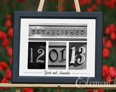 Personalized Wedding Date Gift - 11x14 Frame, Number Photography Date, Established Photo Art for weddings, anniversaries or commemorations