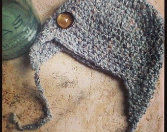 Multicolor Repurposed Sweater Earflap Baby Hat