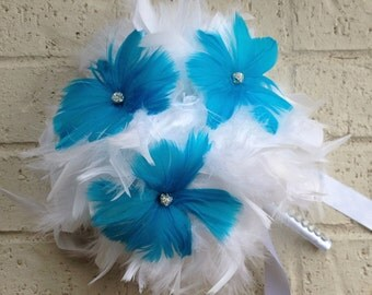 CUSTOM COLORS Feathers & Flowers BLING Crystal Bridesmaid Bouquet Swarovski and Feather Lily Wedding Bouquets Malibu Blue White Turquoise