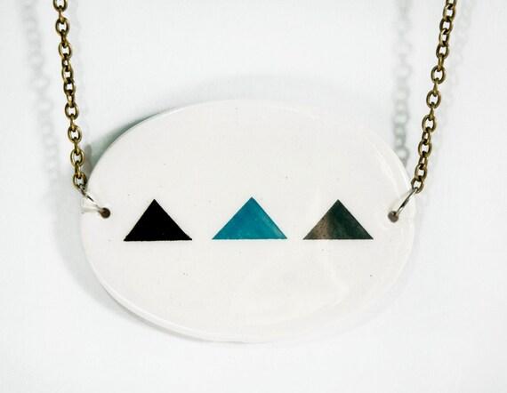 Necklace,Ceramic necklace, Hanmade jewelry, Geometric necklace, geomertic jewelry, ceramic jewelry, Minimalist necklace,