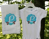 Girls Personalized initial Onesie and Burp Cloth Gift Set Great Shower Gift