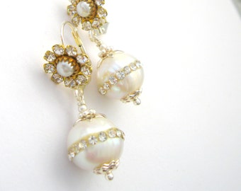 Crystal and White Pearl Earrings - Wedding jewelry Crystal flower  Fresh water Pearl drop inlaid CZ - Handcrafted Jewelry Silver