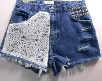 Waist  28  inches  ---Ready to Ship----Vintage High Waisted denim shorts -----Crochet Lace  and Studs