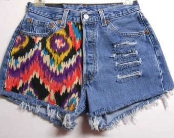 High Waisted Levis  denim shorts--Waist 26  inches  ---Ready to Ship
