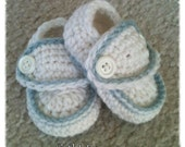Crocheted Baby Boy Loafer Booties in White w/ blue trim Blessing Christening Baptism 0-3 months Shoes Special Occasion shower gift