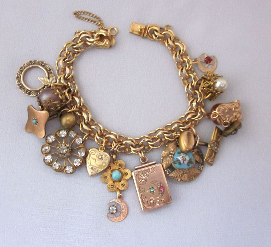 Antique Gold Charm Bracelet: Antique Charm Bracelet Repurposed Victorian Watch Fob Locket