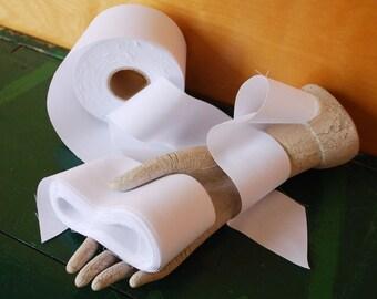"White Ribbon, 10 Yards x 2 3/8"", Destash Trimmed Fabric Ribbon"