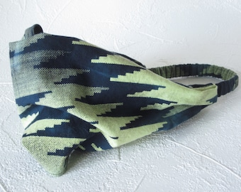 Headband Bandana Navy and Yellow Lime Chevron Cotton Batik Handmade Hair Fashion