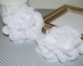 """Chiffon Lace Flowers - 2 count White 3.75""""  fabric flowers - Shabby Chic Frayed Chiffon Lace Rose Flower hair brooch headband flower"""