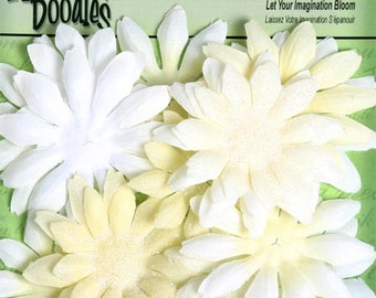 """Small fabric flowers - Daisy Layers 20 pieces - 1293-101  - Pearl Ivory Cream Fabric and Glitter Daisies  1 1/2"""" to 2 1/4""""  sizes"""