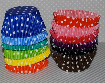 cupcake liners -  Polka dot  baking cups  muffin cups  standard size  grease proof cupcake - YOU PICK COLORS - 100 count