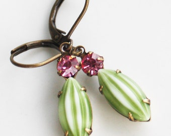 Swarovski Crystals and Etched Melon Stones in Antique Brass Settings - Rose Pink and Light Green - Antiqued Brass earrings