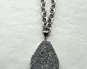Men's Necklace - Gray Druzy Agate Chain Necklace
