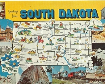 South Dakota -  Map - 1970s Vintage Map