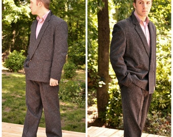 80's Mens Double Breasted Suit 42 44R Black Flecked Wool Blend Retro Gangster Vintage Costume
