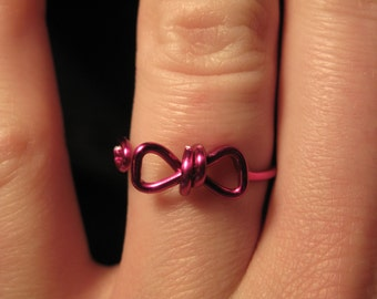 Wire Wrapped Bow MADE to ORDER Adjustable Ring