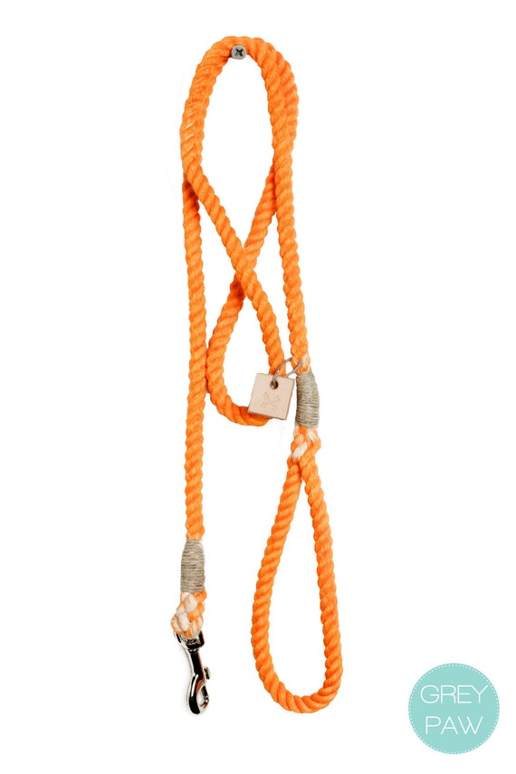 Rope dog lead pet supplies dog collar dog leash: Small or medium pumpkin orange cotton rope leash
