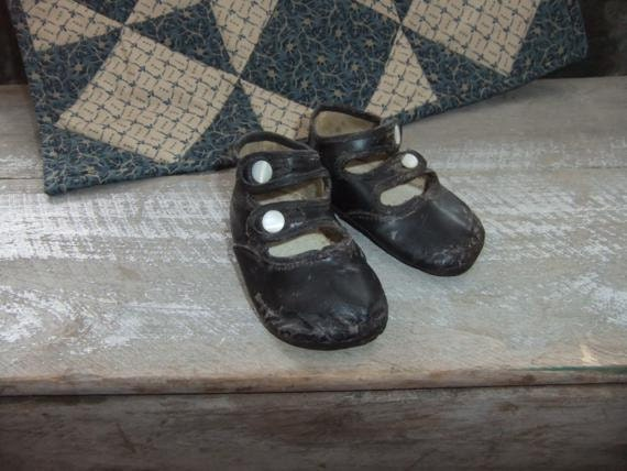 Antique Baby Shoes Toddler Button Up Black Shoes