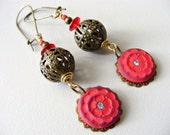 Red antique earrings, polymer clay flower, dangle earrings, drop earrings, boho vintage style, upcycled recycled eco, bronze hoop filigree
