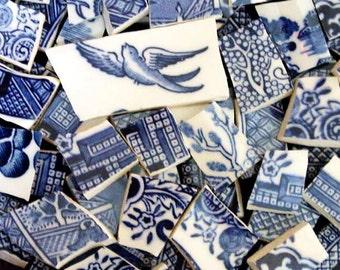 FREE SHIPPING 375 Blue Bird and Blue Transferware Design Mosaic Tiles Tesserae Handmade Dinnerware Plates Dishes Flowered Mosaics