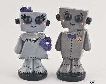 Love Bots Bride and Groom Wedding Cake Topper Kawaii