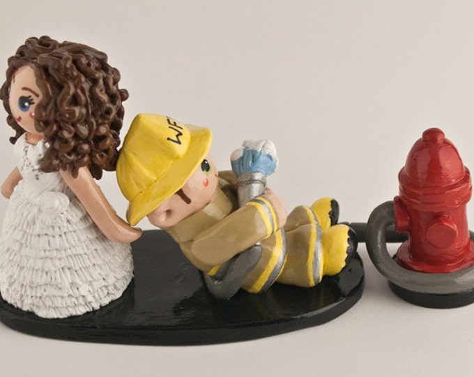 Custom Made Fireman Bride and Groom Wedding Cake Topper