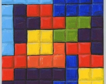 Tetris Blocks original video game Geek acrylic painting art artwork Brandy Woods
