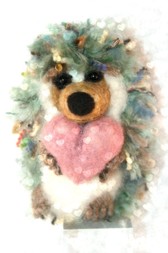 Needle Felted Hedgehog With Glorious Handspun Fiber Spikes of Love- Full Of Whimsy and Character