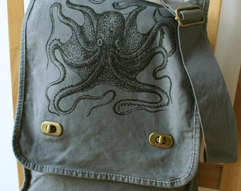 Octopus Canvas Messenger Bag, Bag for Men, Bag for Women