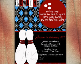 Bowling Birthday Invitation - Digital File You Print