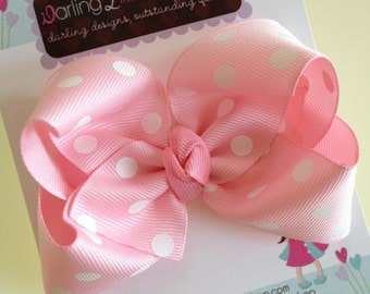 Pink polka dot Bow -- light pink large boutique bow -- perfect for Spring and Easter -- baby pink and white