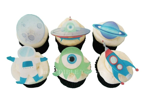 Edible Cake Top Decorations : CAKE TOPPERS 12 Edible Alien Cake Toppers by incrEDIBLEtoppers