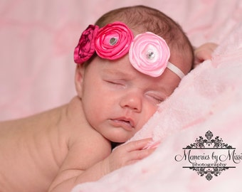 Pretty Pinks Satin Flower Headband