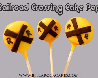 Railroad Crossing Cake Pops (Train Theme) / 1 Dozen /Kids, Birthday, BBQ, Summer, Picnic / Chocolate, Coconut, etc.