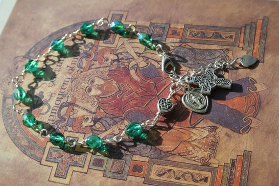 Irish Celtic Rosary Bracelet with Light Emerald Green Beads