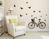 Art Wall Decal Bicycle Wall Vinyl Decal Sticker Butterflies Wall Decal