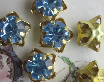 Vintage Star Shaped Aquamarine Color  Rhinestone  Drop