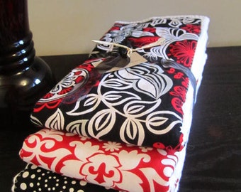 PREMIUM 6 ply burp cloth diapers red and black flowers