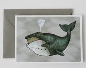 Bowhead Whale Greeting Card - Blank Inside