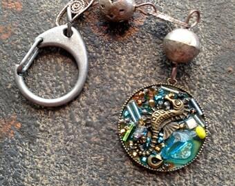 Seahorse Keychain,Vintage Metal beads,Glass ,Stones