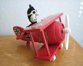 Vintage Peanuts Snoopy Red Baron Wood Bi-Plane Music Box   1968   Japan
