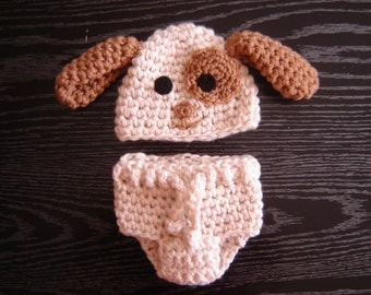 Puppy Set Crochet Baby Boy Hat and Diaper cover Photography Prop Ready Item