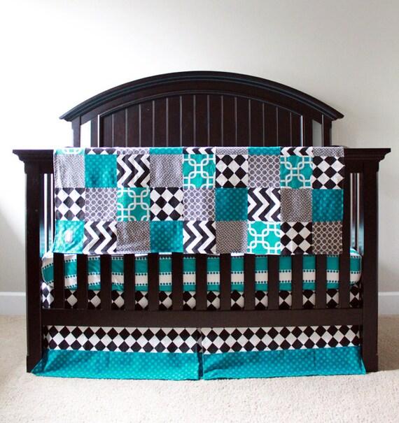 Brown Turquoise Crib Bedding
