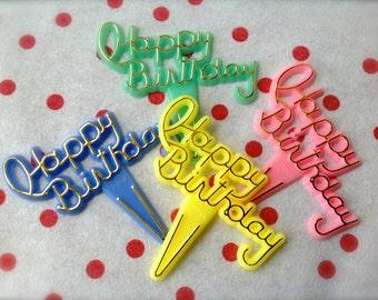 Happy Birthday Pastel Cupcake Picks-Set of 12