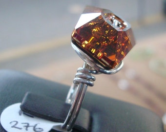 Topaz Swarovski Crystal in Sterling Silver Wire Wrap Ring - R276 - Size 7