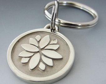 Small Stainless Steel Lotus Flower Engraved Keychain